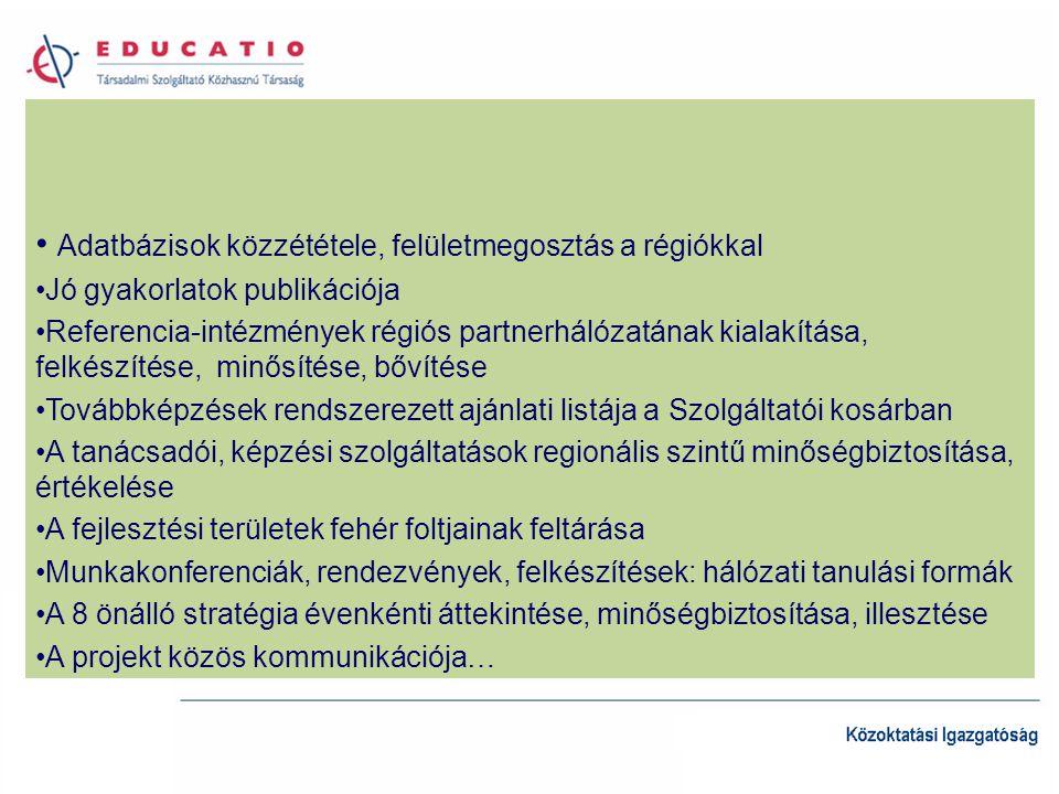 Adatbázisok közzététele, felületmegosztás a régiókkal Jó gyakorlatok publikációja Referencia-intézmények régiós partnerhálózatának kialakítása, felkészítése, minősítése, bővítése Továbbképzések rendszerezett ajánlati listája a Szolgáltatói kosárban A tanácsadói, képzési szolgáltatások regionális szintű minőségbiztosítása, értékelése A fejlesztési területek fehér foltjainak feltárása Munkakonferenciák, rendezvények, felkészítések: hálózati tanulási formák A 8 önálló stratégia évenkénti áttekintése, minőségbiztosítása, illesztése A projekt közös kommunikációja…