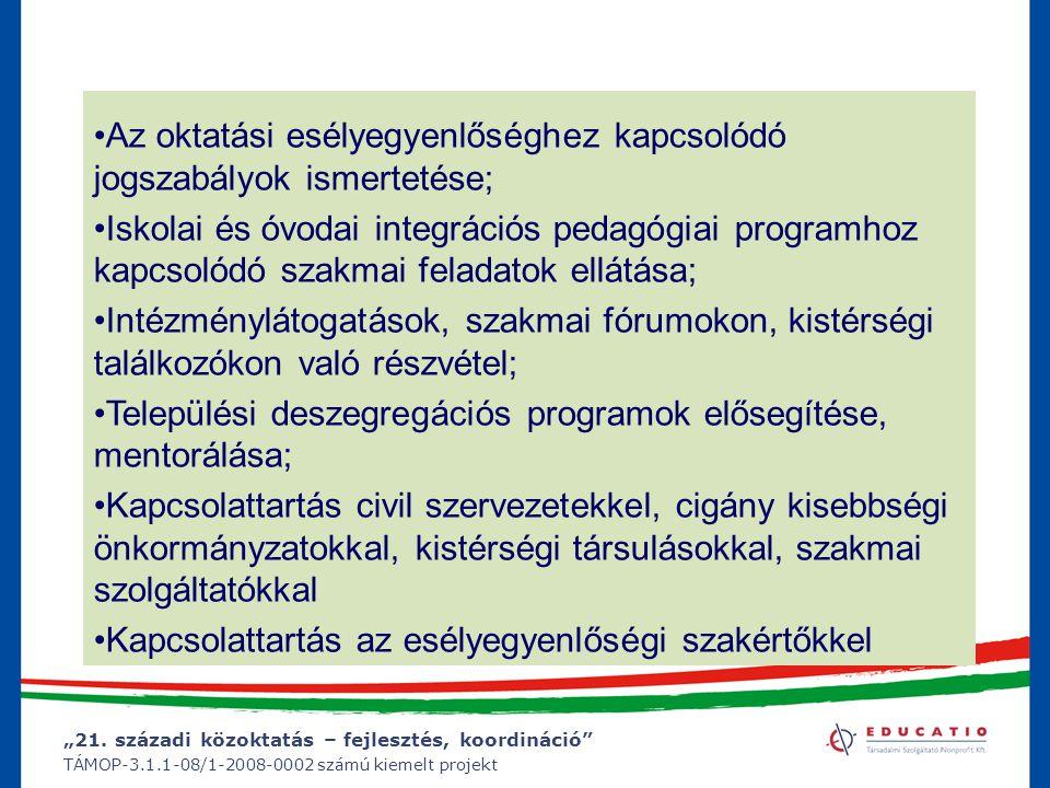 """""""21. századi közoktatás – fejlesztés, koordináció"""" TÁMOP-3.1.1-08/1-2008-0002 számú kiemelt projekt Az oktatási esélyegyenlőséghez kapcsolódó jogszabá"""