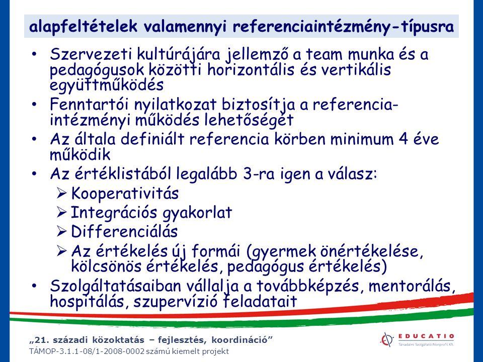 """""""21. századi közoktatás – fejlesztés, koordináció"""" TÁMOP-3.1.1-08/1-2008-0002 számú kiemelt projekt alapfeltételek valamennyi referenciaintézmény-típu"""