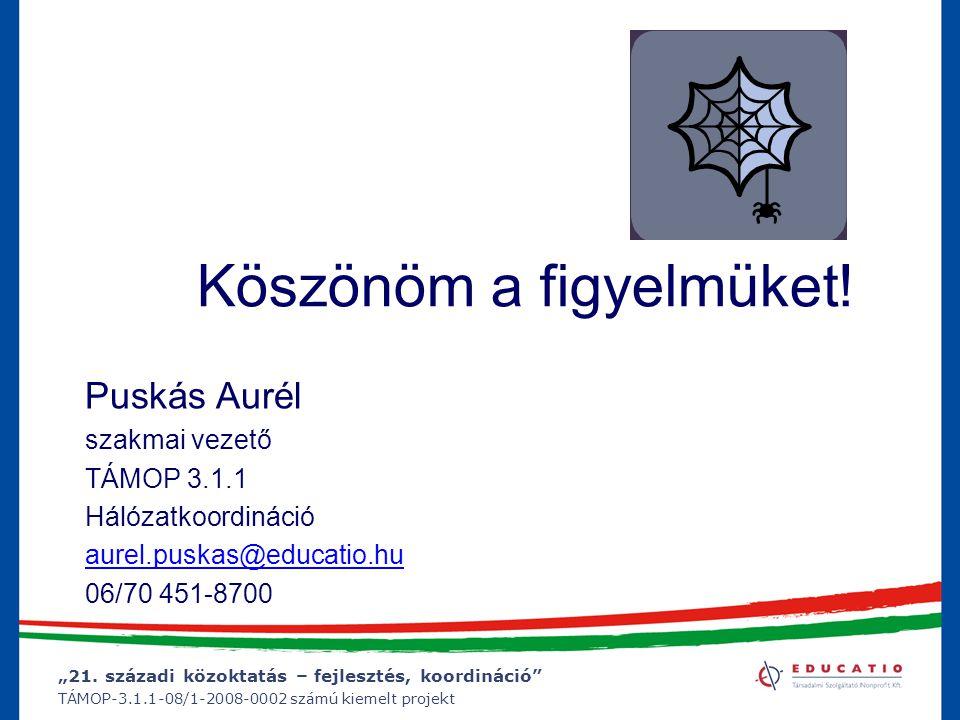"""""""21. századi közoktatás – fejlesztés, koordináció"""" TÁMOP-3.1.1-08/1-2008-0002 számú kiemelt projekt Köszönöm a figyelmüket! Puskás Aurél szakmai vezet"""