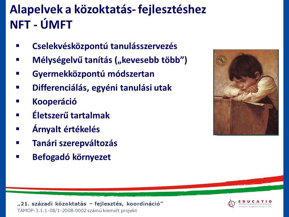 """""""21. századi közoktatás – fejlesztés, koordináció"""" TÁMOP-3.1.1-08/1-2008-0002 számú kiemelt projekt Alapelvek a közoktatás- fejlesztéshez NFT - ÚMFT """