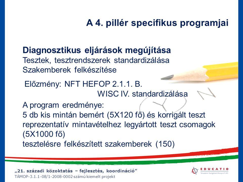 """""""21. századi közoktatás – fejlesztés, koordináció"""" TÁMOP-3.1.1-08/1-2008-0002 számú kiemelt projekt A 4. pillér specifikus programjai Diagnosztikus el"""