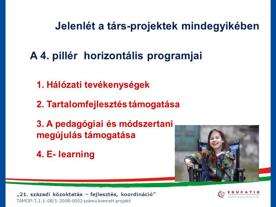 """""""21. századi közoktatás – fejlesztés, koordináció"""" TÁMOP-3.1.1-08/1-2008-0002 számú kiemelt projekt Jelenlét a társ-projektek mindegyikében A 4. pillé"""