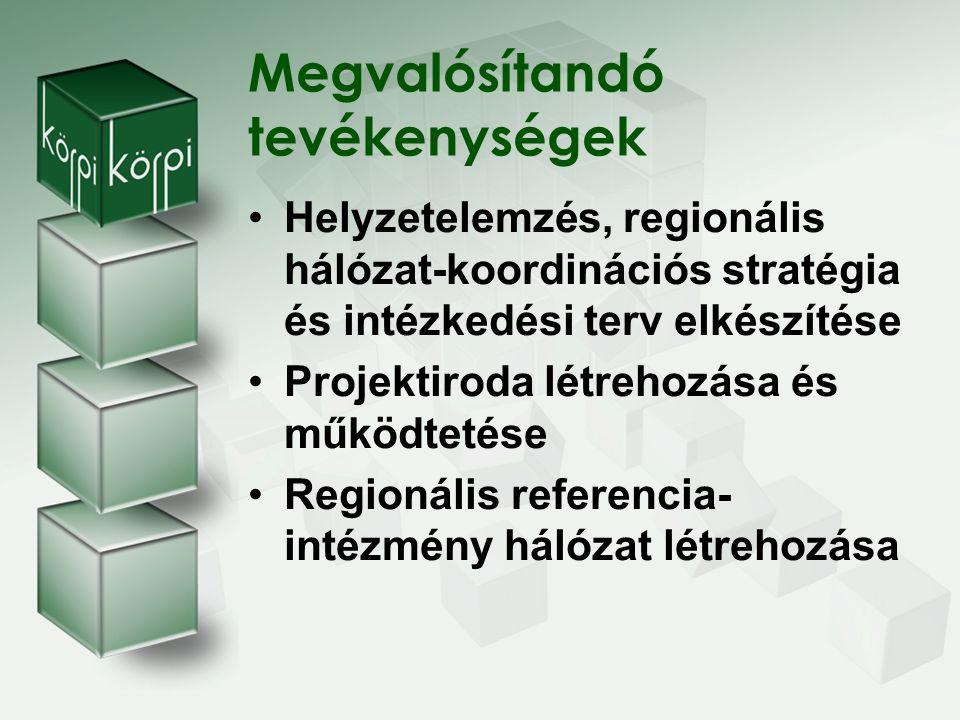 Regionális hálózat-koordinációs stratégiánk Egy központból felépülő hálózat Megyei központokból felépülő hálózat Kistérségi központokból felépülő hálózat Cél:a három működési mód együttes megvalósítása, kiemelt szerepű a harmadik stratégiai működési struktúra megvalósítása, fejlesztése és működtetése.