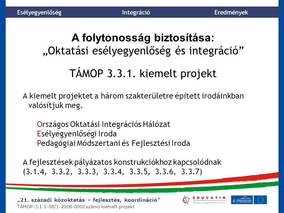 """""""21. századi közoktatás – fejlesztés, koordináció"""" TÁMOP-3.1.1-08/1-2008-0002 számú kiemelt projekt Esélyegyenlőség Integráció Eredmények A folytonoss"""