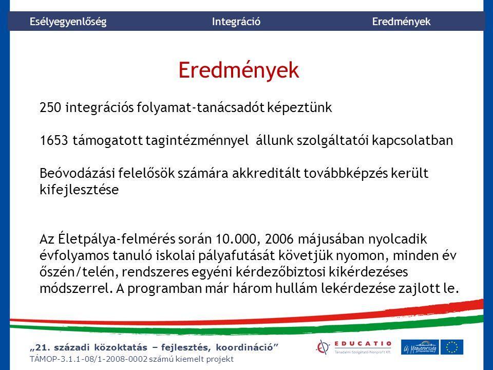 """""""21. századi közoktatás – fejlesztés, koordináció"""" TÁMOP-3.1.1-08/1-2008-0002 számú kiemelt projekt Esélyegyenlőség Integráció Eredmények 250 integrác"""