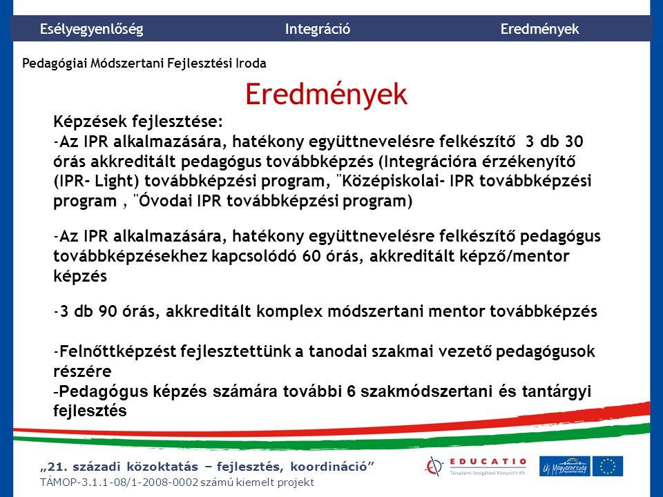 """""""21. századi közoktatás – fejlesztés, koordináció"""" TÁMOP-3.1.1-08/1-2008-0002 számú kiemelt projekt Esélyegyenlőség Integráció Eredmények Képzések fej"""
