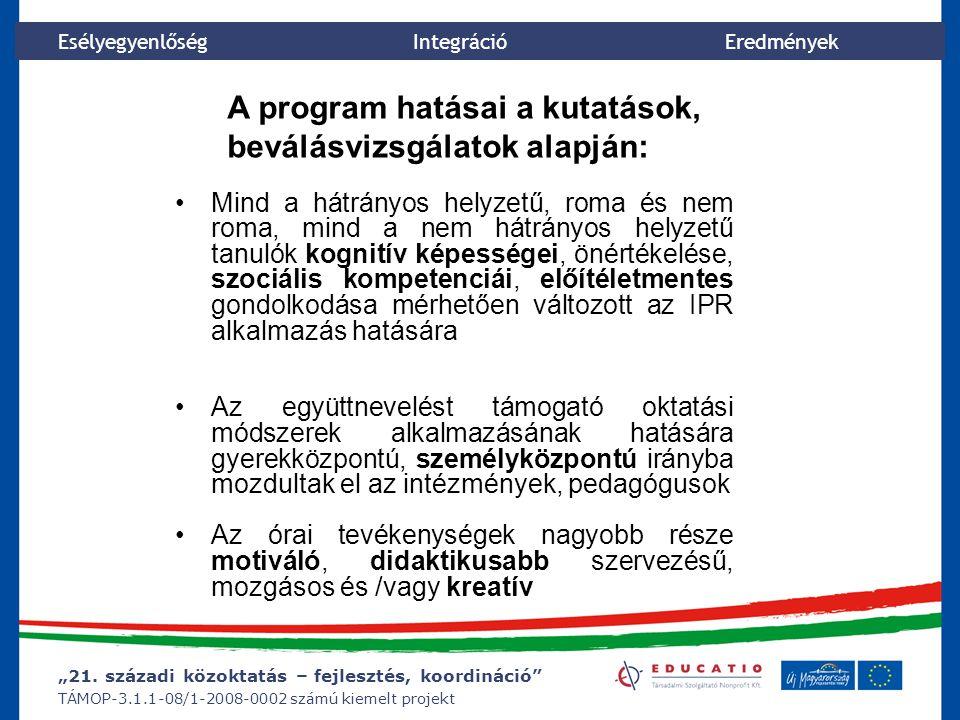 """""""21. századi közoktatás – fejlesztés, koordináció"""" TÁMOP-3.1.1-08/1-2008-0002 számú kiemelt projekt Esélyegyenlőség Integráció Eredmények A program ha"""