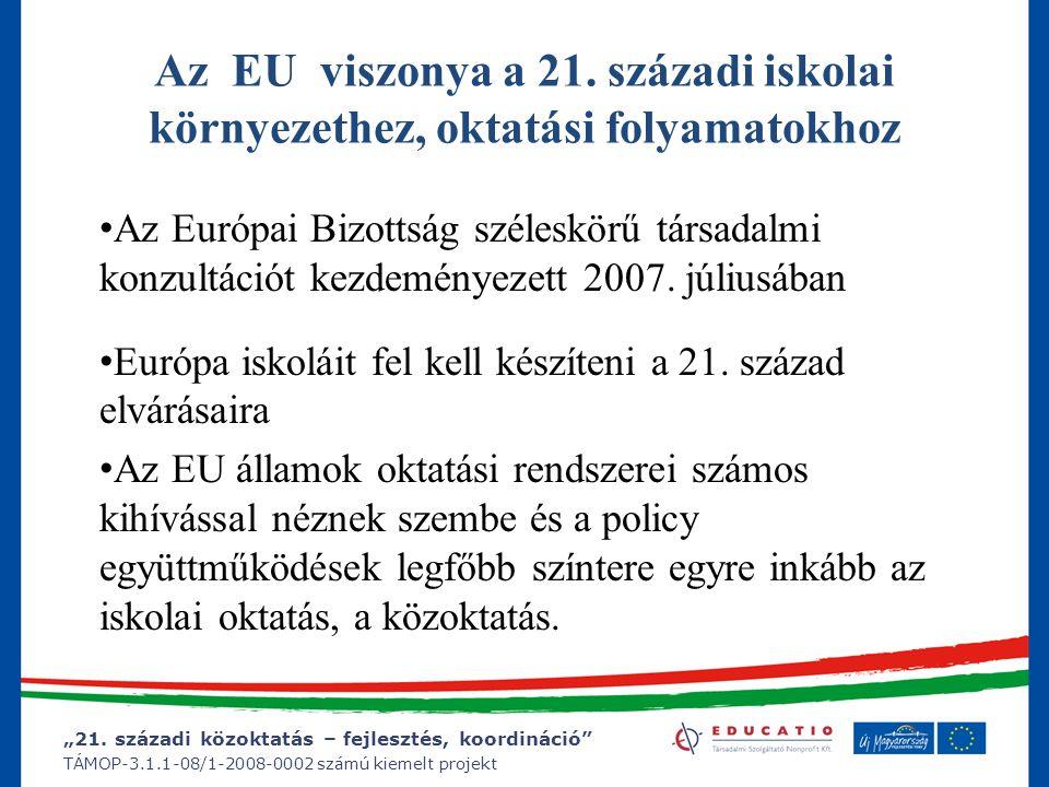 """""""21. századi közoktatás – fejlesztés, koordináció"""" TÁMOP-3.1.1-08/1-2008-0002 számú kiemelt projekt Az EU viszonya a 21. századi iskolai környezethez,"""
