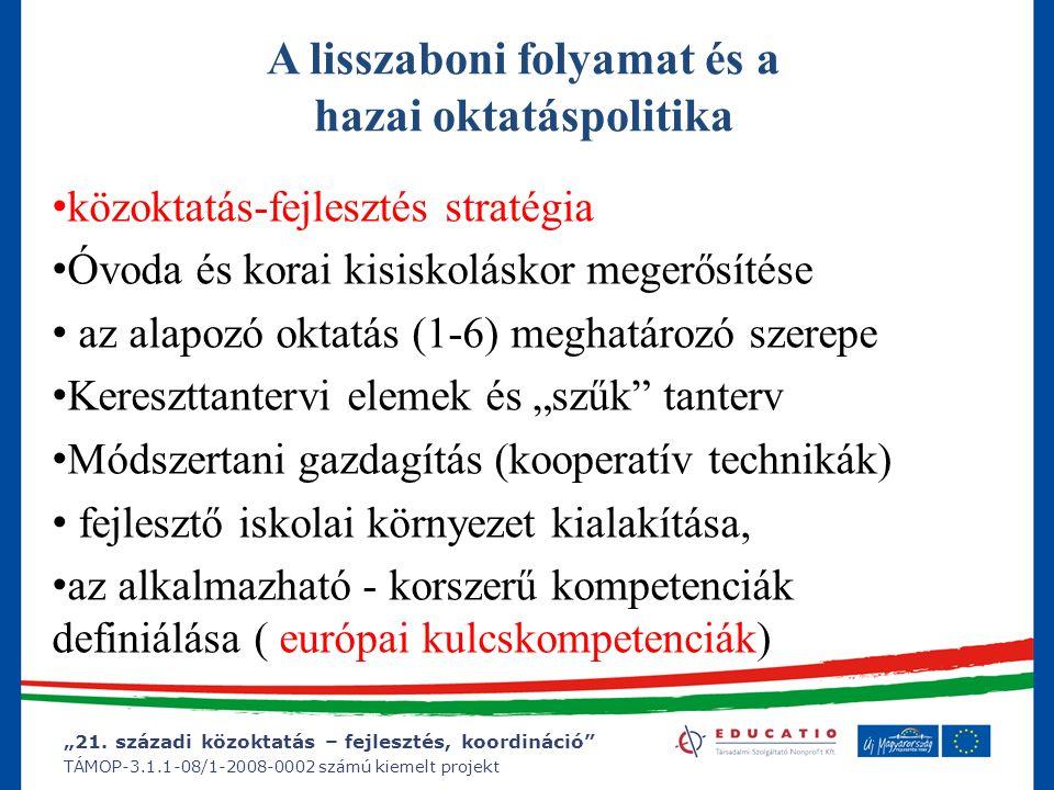 """""""21. századi közoktatás – fejlesztés, koordináció"""" TÁMOP-3.1.1-08/1-2008-0002 számú kiemelt projekt A lisszaboni folyamat és a hazai oktatáspolitika k"""