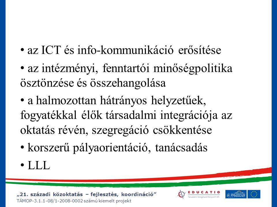 """""""21. századi közoktatás – fejlesztés, koordináció"""" TÁMOP-3.1.1-08/1-2008-0002 számú kiemelt projekt az ICT és info-kommunikáció erősítése az intézmény"""