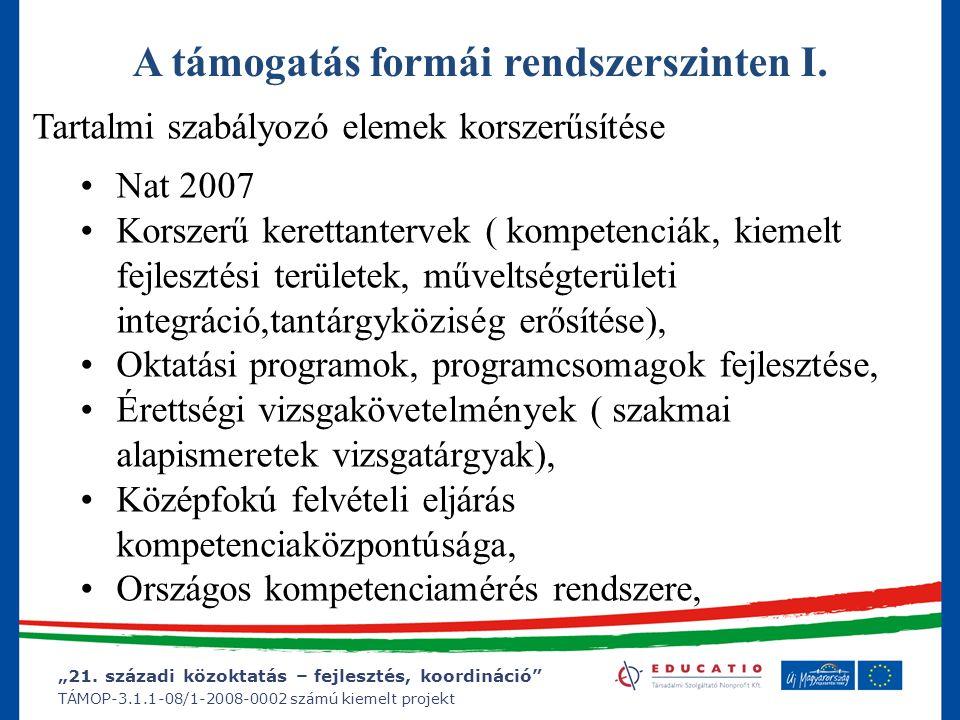 """""""21. századi közoktatás – fejlesztés, koordináció"""" TÁMOP-3.1.1-08/1-2008-0002 számú kiemelt projekt Tartalmi szabályozó elemek korszerűsítése Nat 2007"""