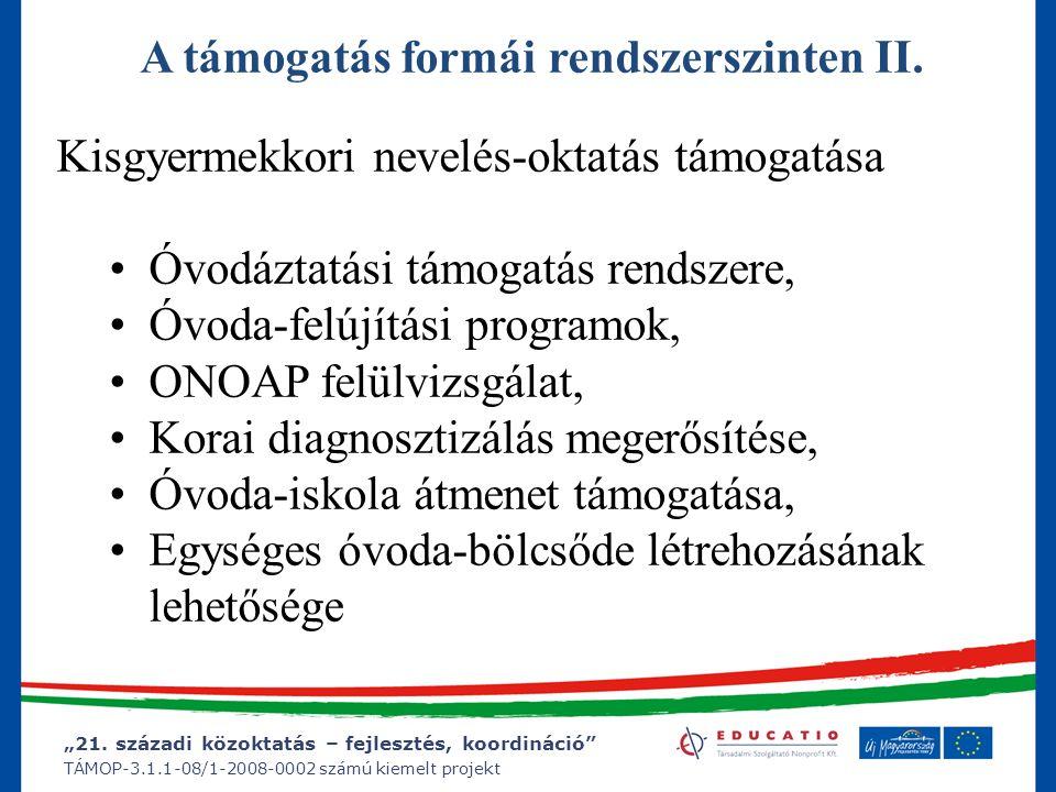"""""""21. századi közoktatás – fejlesztés, koordináció"""" TÁMOP-3.1.1-08/1-2008-0002 számú kiemelt projekt A támogatás formái rendszerszinten II. Kisgyermekk"""