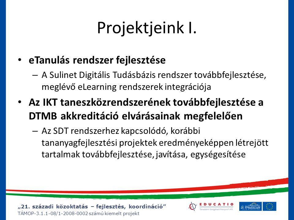 """""""21. századi közoktatás – fejlesztés, koordináció"""" TÁMOP-3.1.1-08/1-2008-0002 számú kiemelt projekt Projektjeink I. eTanulás rendszer fejlesztése – A"""