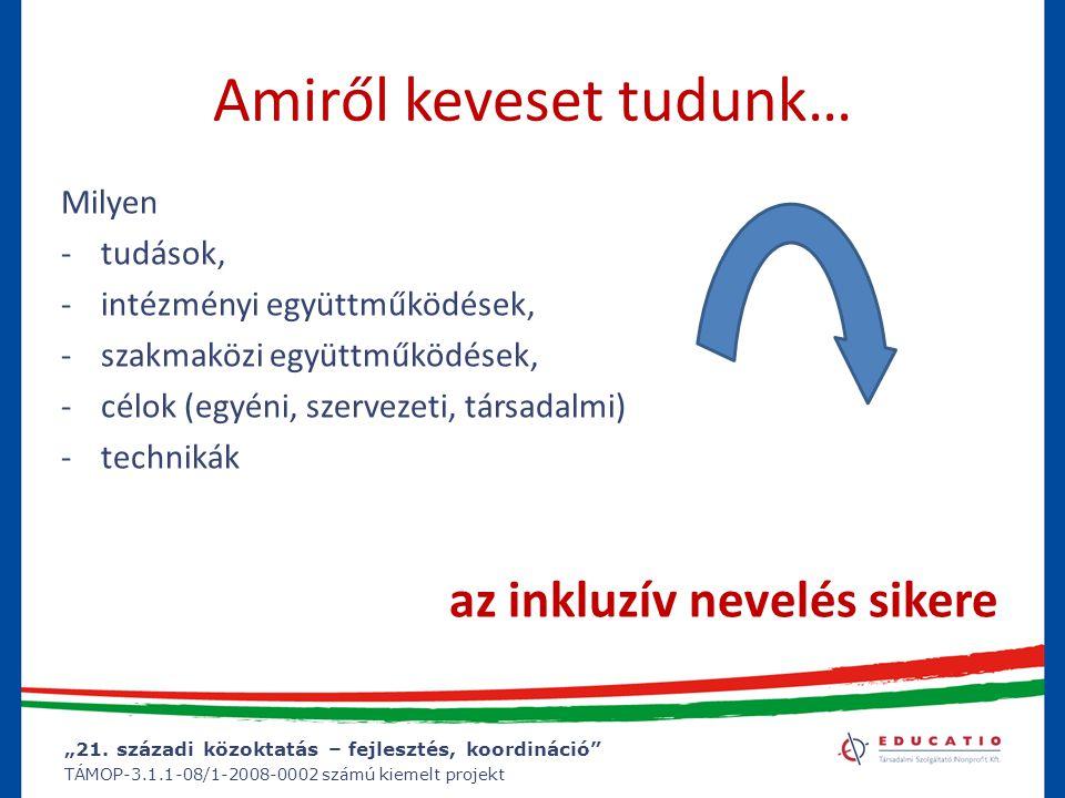 """""""21. századi közoktatás – fejlesztés, koordináció"""" TÁMOP-3.1.1-08/1-2008-0002 számú kiemelt projekt Amiről keveset tudunk… Milyen -tudások, -intézmény"""