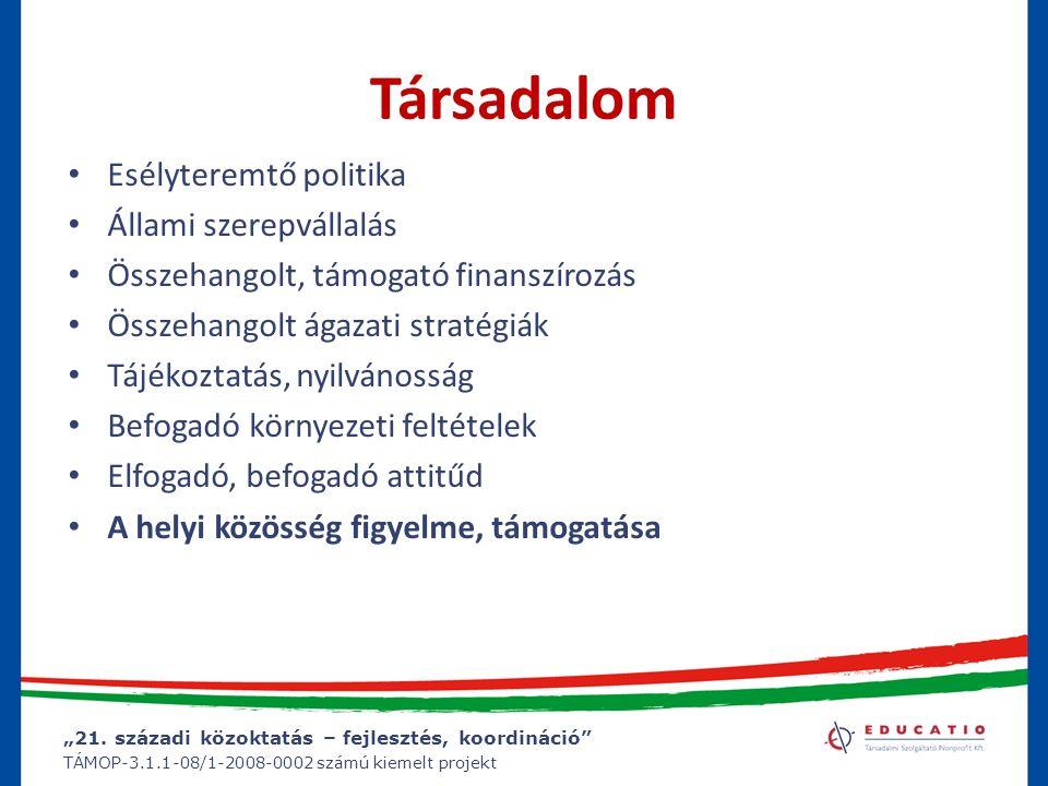 """""""21. századi közoktatás – fejlesztés, koordináció"""" TÁMOP-3.1.1-08/1-2008-0002 számú kiemelt projekt Társadalom Esélyteremtő politika Állami szerepváll"""