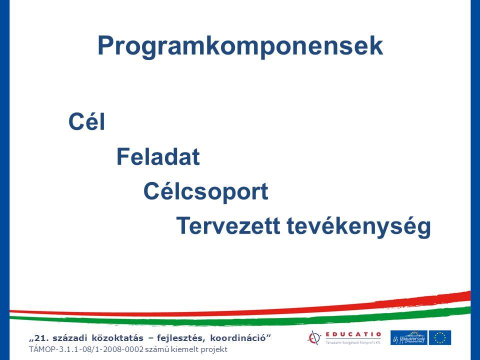 """""""21. századi közoktatás – fejlesztés, koordináció"""" TÁMOP-3.1.1-08/1-2008-0002 számú kiemelt projekt T Á M O P 3.1.1"""