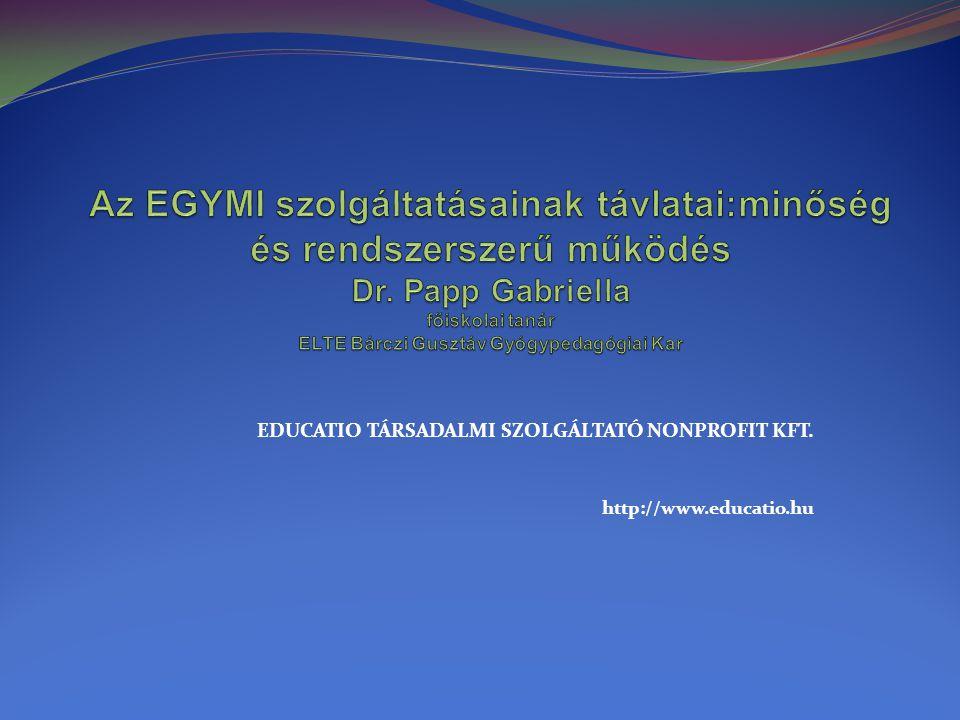 EGYMI-vé válás folyamata Új szervezeti forma igénye: gyógypedagógiai kompetenciakör bővülése az iskoláskor előtti és utáni korcsoportra, valamint a segítségnyújtás tartalmi változása (Mesterházi, 2007) Integrált oktatás: szakmai és szakmaközi együttműködés (Kőpataki, 2008) Szakemberképzés: terapeuta (Gordosné, 2000) Fejlesztések: HEFOP 2.1.2 Törvényi változás (1993.