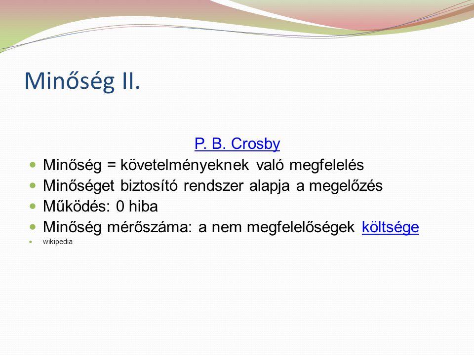 Minőség II. P. B. Crosby Minőség = követelményeknek való megfelelés Minőséget biztosító rendszer alapja a megelőzés Működés: 0 hiba Minőség mérőszáma: