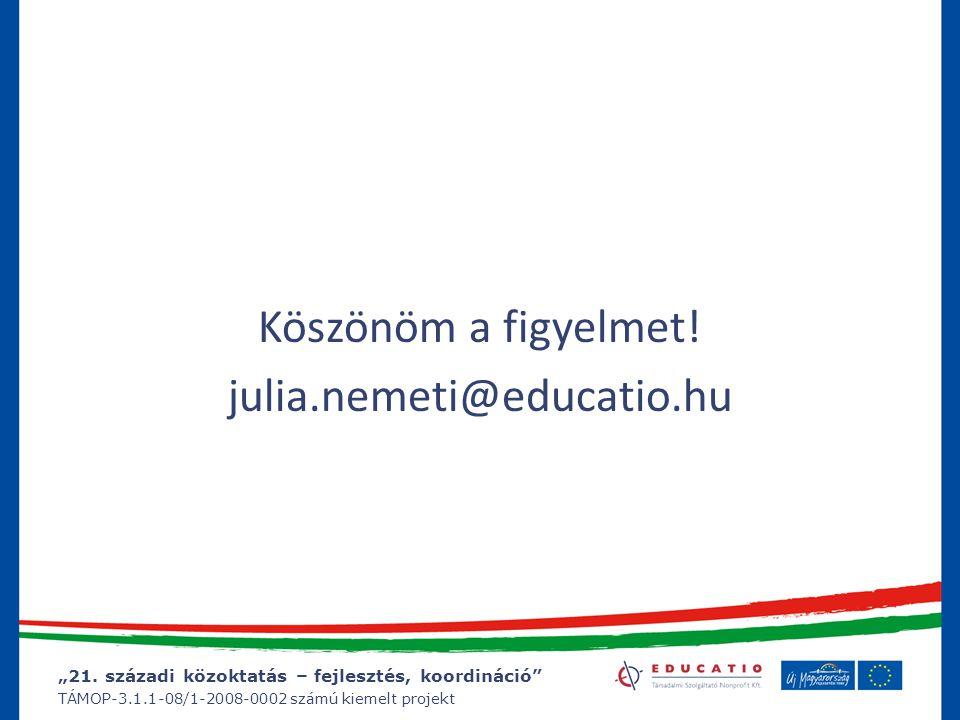 """""""21. századi közoktatás – fejlesztés, koordináció"""" TÁMOP-3.1.1-08/1-2008-0002 számú kiemelt projekt Köszönöm a figyelmet! julia.nemeti@educatio.hu"""