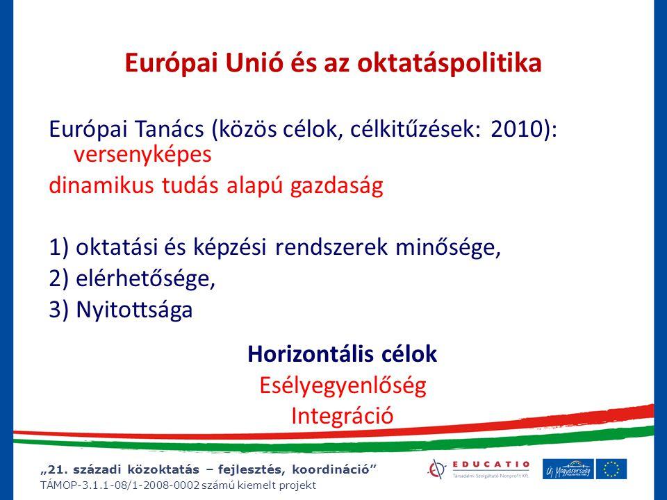 """""""21. századi közoktatás – fejlesztés, koordináció"""" TÁMOP-3.1.1-08/1-2008-0002 számú kiemelt projekt Európai Unió és az oktatáspolitika Európai Tanács"""