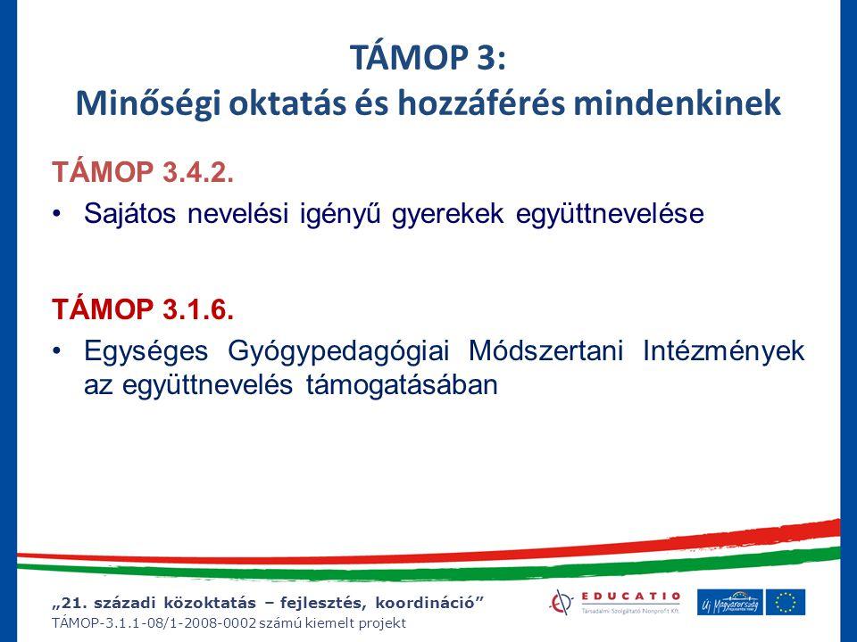 """""""21. századi közoktatás – fejlesztés, koordináció"""" TÁMOP-3.1.1-08/1-2008-0002 számú kiemelt projekt TÁMOP 3: Minőségi oktatás és hozzáférés mindenkine"""
