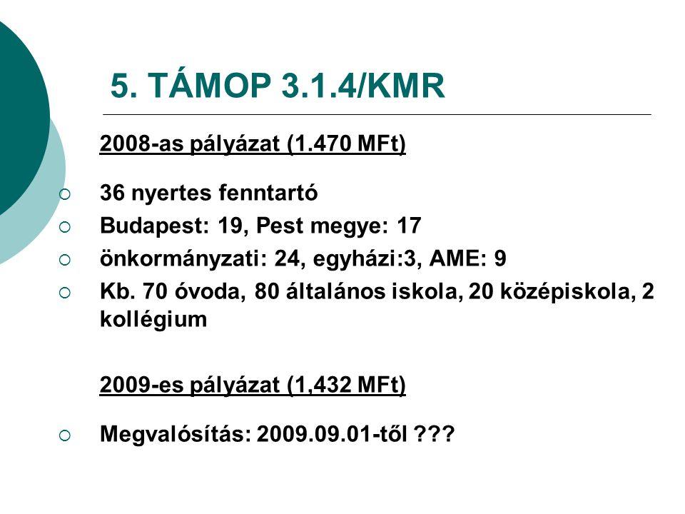 5. TÁMOP 3.1.4/KMR 2008-as pályázat (1.470 MFt)  36 nyertes fenntartó  Budapest: 19, Pest megye: 17  önkormányzati: 24, egyházi:3, AME: 9  Kb. 70