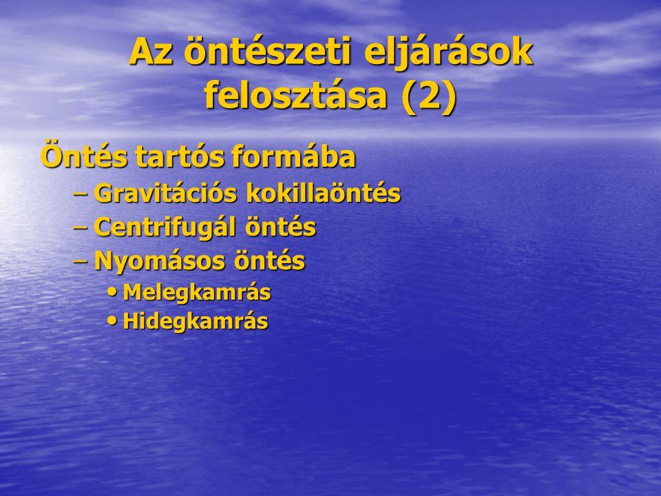 Az öntészeti eljárások felosztása (2) Öntés tartós formába –Gravitációs kokillaöntés –Centrifugál öntés –Nyomásos öntés Melegkamrás Melegkamrás Hidegk