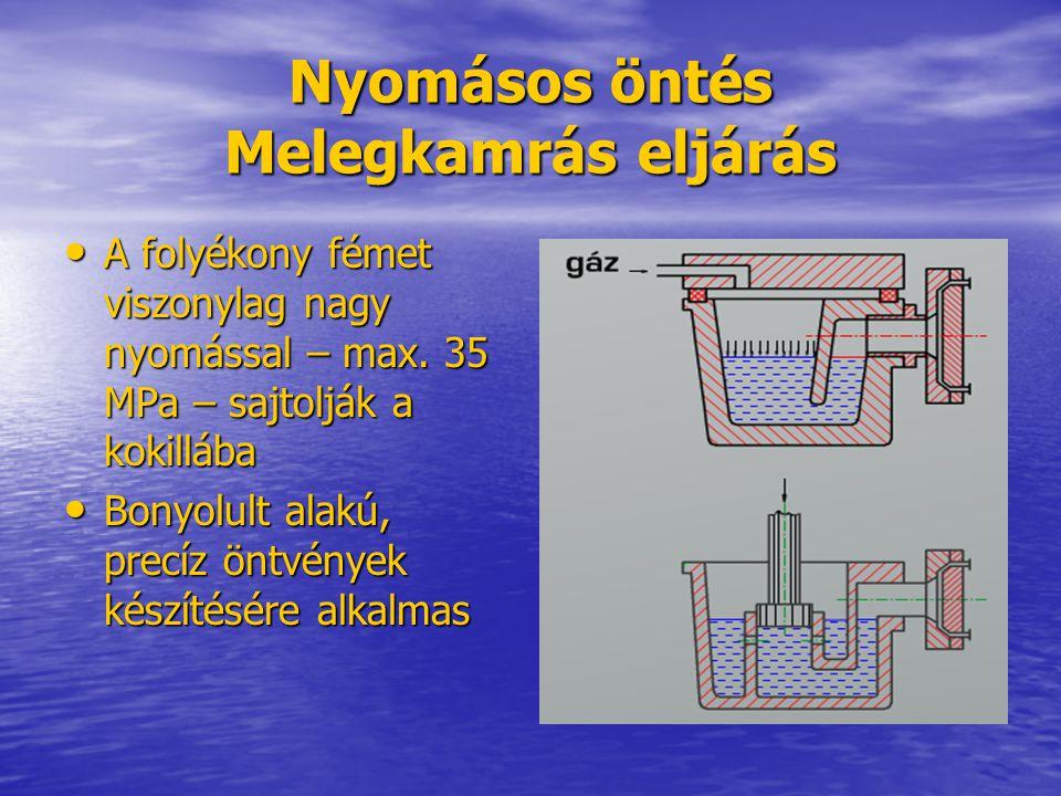 Nyomásos öntés Melegkamrás eljárás A folyékony fémet viszonylag nagy nyomással – max. 35 MPa – sajtolják a kokillába A folyékony fémet viszonylag nagy