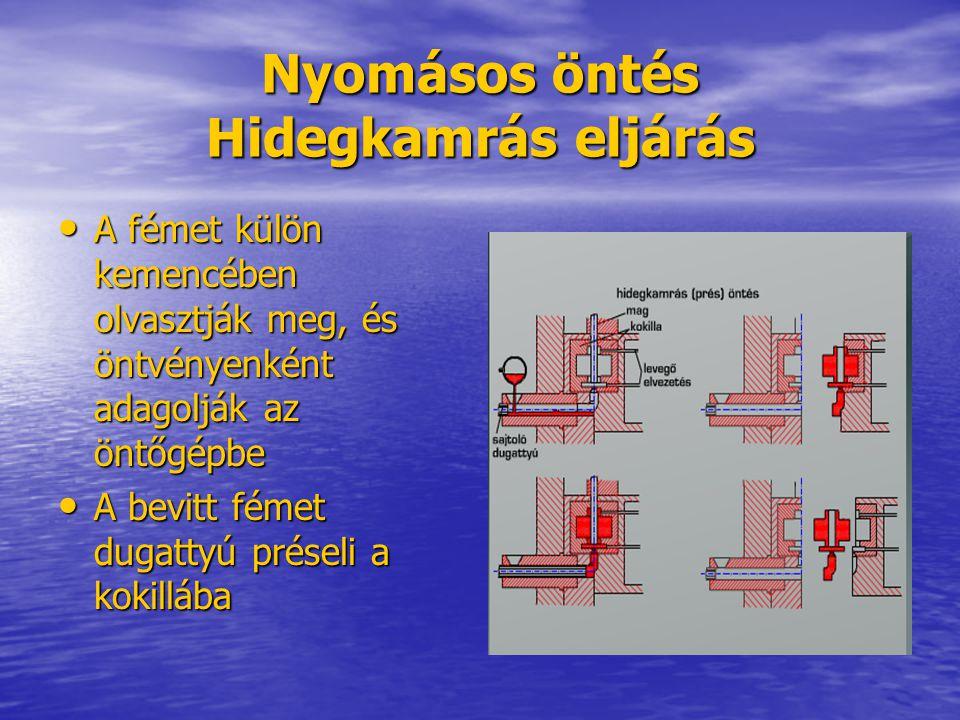 Nyomásos öntés Hidegkamrás eljárás A fémet külön kemencében olvasztják meg, és öntvényenként adagolják az öntőgépbe A fémet külön kemencében olvasztjá