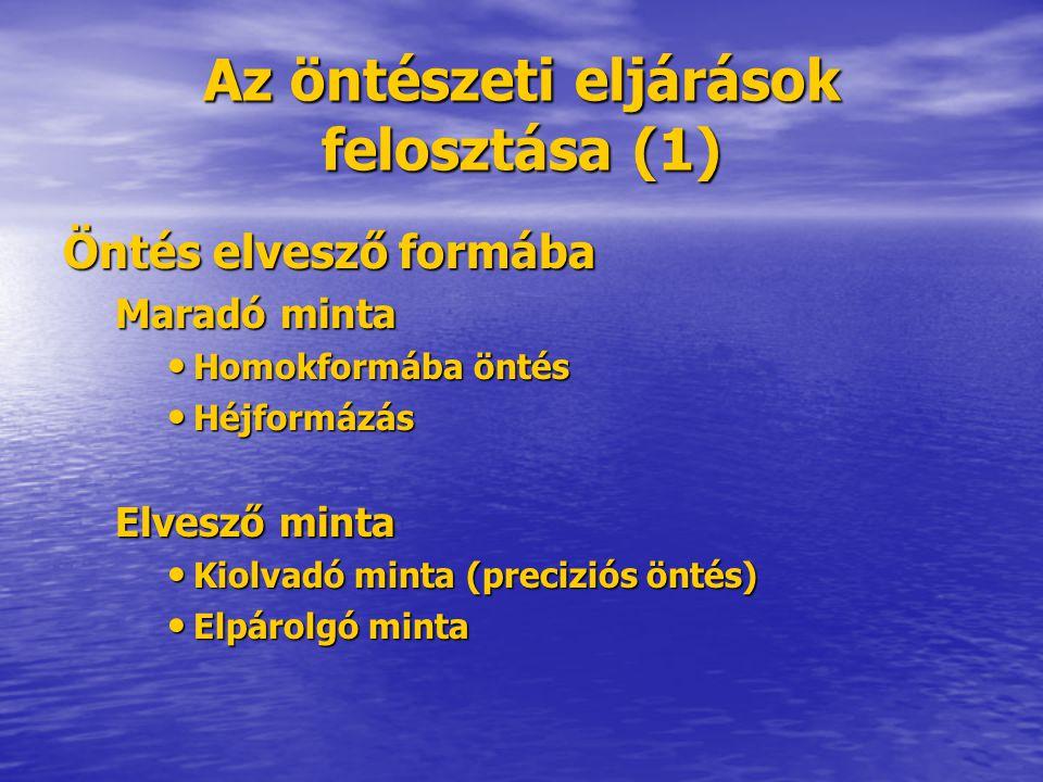 Az öntészeti eljárások felosztása (1) Öntés elvesző formába Maradó minta Homokformába öntés Homokformába öntés Héjformázás Héjformázás Elvesző minta K
