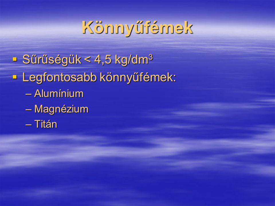 Könnyűfémek  Sűrűségük < 4,5 kg/dm 3  Legfontosabb könnyűfémek: –Alumínium –Magnézium –Titán