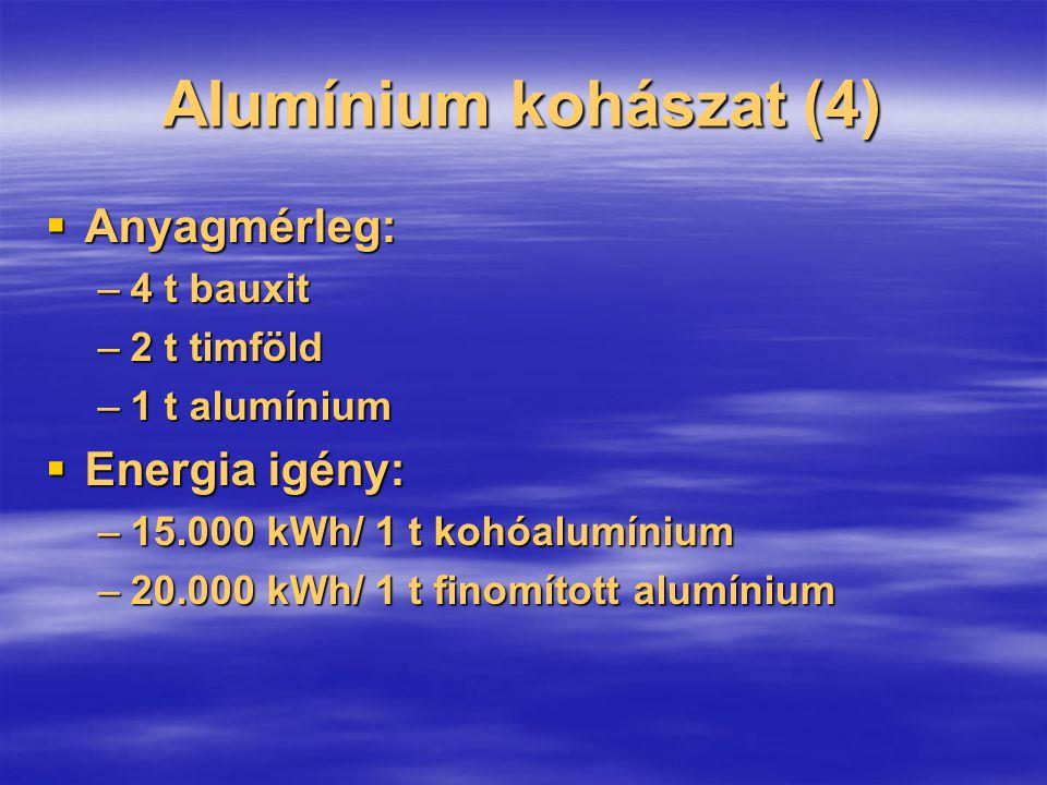 Alumínium kohászat (4)  Anyagmérleg: –4 t bauxit –2 t timföld –1 t alumínium  Energia igény: –15.000 kWh/ 1 t kohóalumínium –20.000 kWh/ 1 t finomít