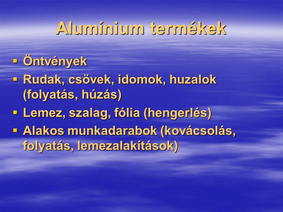 Alumínium termékek  Öntvények  Rudak, csövek, idomok, huzalok (folyatás, húzás)  Lemez, szalag, fólia (hengerlés)  Alakos munkadarabok (kovácsolás
