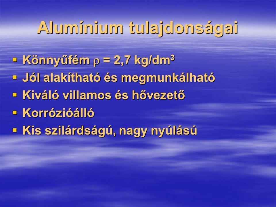 Alumínium tulajdonságai  Könnyűfém  = 2,7 kg/dm 3  Jól alakítható és megmunkálható  Kiváló villamos és hővezető  Korrózióálló  Kis szilárdságú,