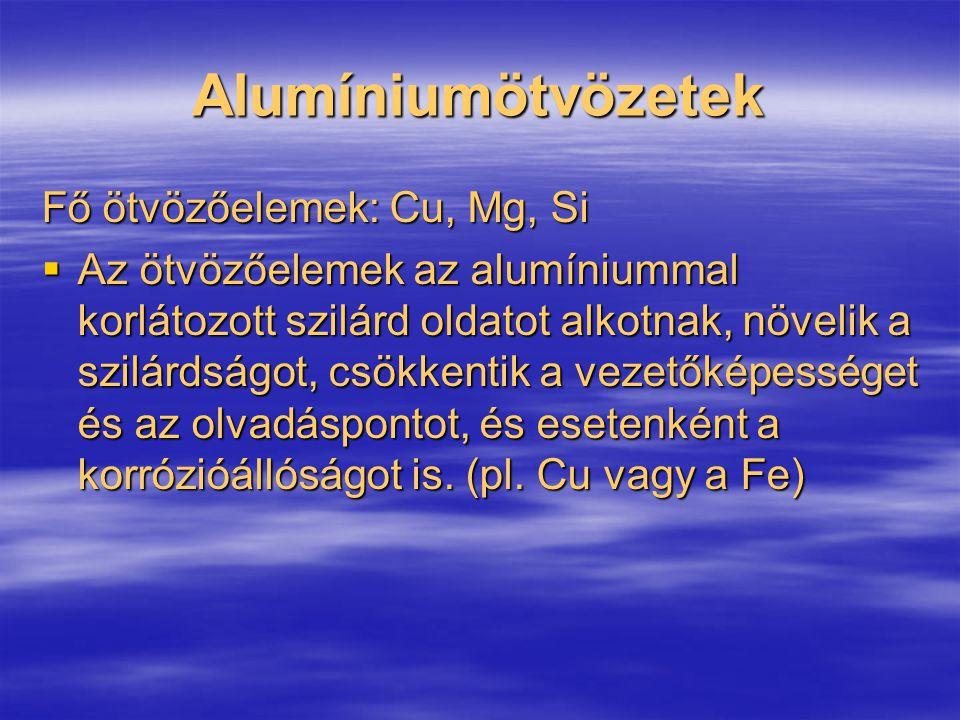 Alumíniumötvözetek Fő ötvözőelemek: Cu, Mg, Si  Az ötvözőelemek az alumíniummal korlátozott szilárd oldatot alkotnak, növelik a szilárdságot, csökken