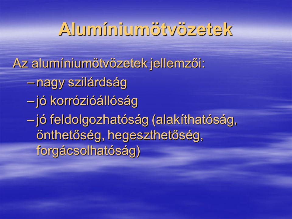 Alumíniumötvözetek Az alumíniumötvözetek jellemzői: –nagy szilárdság –jó korrózióállóság –jó feldolgozhatóság (alakíthatóság, önthetőség, hegeszthetős