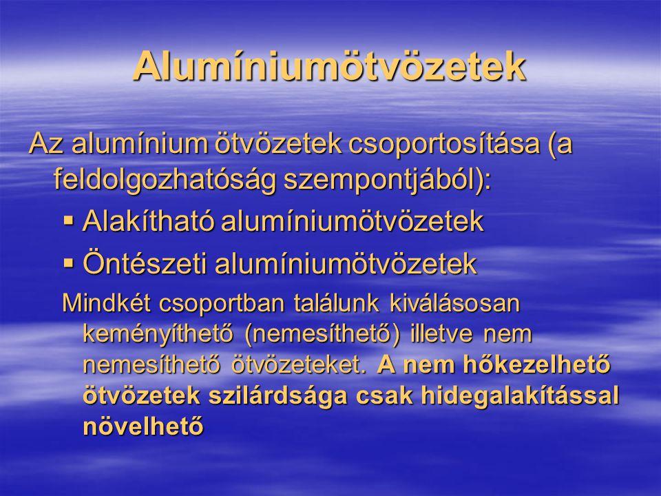 Alumíniumötvözetek Az alumínium ötvözetek csoportosítása (a feldolgozhatóság szempontjából):  Alakítható alumíniumötvözetek  Öntészeti alumíniumötvö