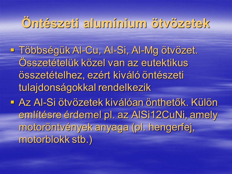 Öntészeti alumínium ötvözetek  Többségük Al-Cu, Al-Si, Al-Mg ötvözet. Összetételük közel van az eutektikus összetételhez, ezért kiváló öntészeti tula