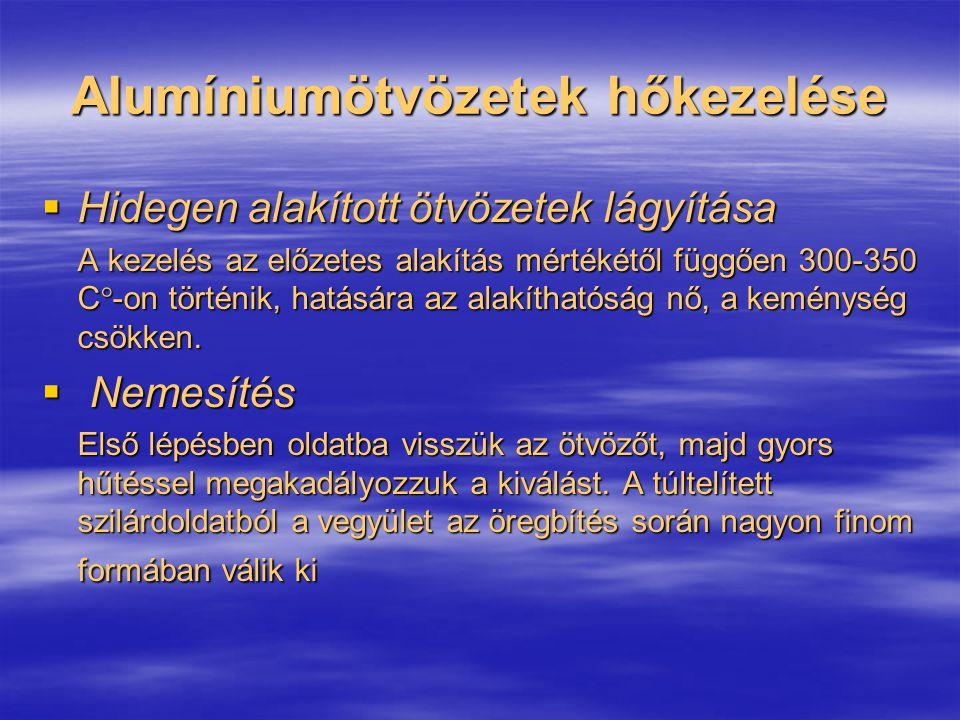 Alumíniumötvözetek hőkezelése  Hidegen alakított ötvözetek lágyítása A kezelés az előzetes alakítás mértékétől függően 300-350 C  -on történik, hatá