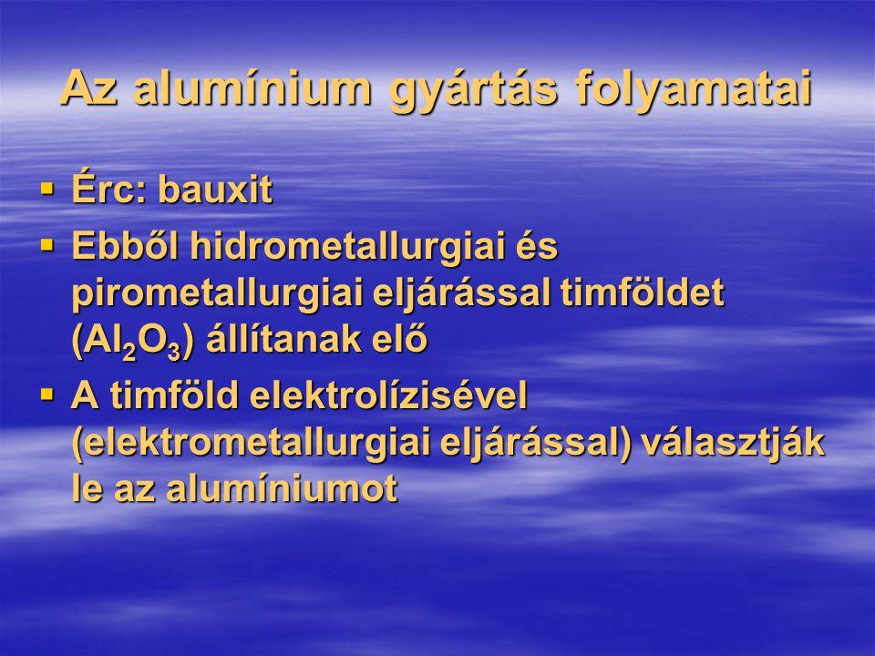 Az alumínium gyártás folyamatai  Érc: bauxit  Ebből hidrometallurgiai és pirometallurgiai eljárással timföldet (Al 2 O 3 ) állítanak elő  A timföld