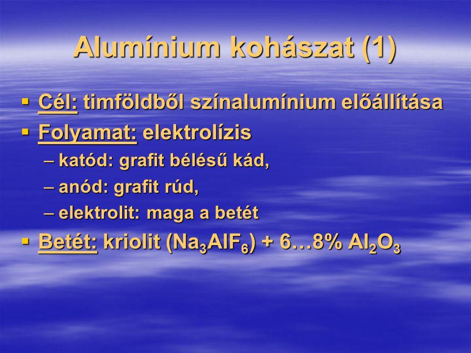 Alumínium kohászat (1)  Cél: timföldből színalumínium előállítása  Folyamat: elektrolízis –katód: grafit bélésű kád, –anód: grafit rúd, –elektrolit: