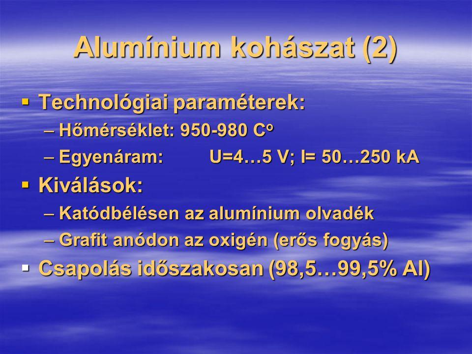 Alumínium kohászat (2)  Technológiai paraméterek: –Hőmérséklet: 950-980 C o –Egyenáram: U=4…5 V; I= 50…250 kA  Kiválások: –Katódbélésen az alumínium