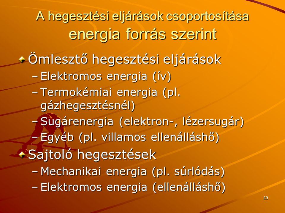 23 A hegesztési eljárások csoportosítása energia forrás szerint Ömlesztő hegesztési eljárások –Elektromos energia (ív) –Termokémiai energia (pl. gázhe