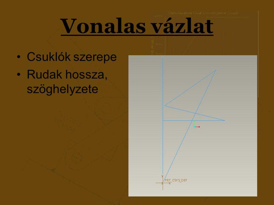Vonalas vázlat 2 vonalas modell  2 véghelyzet Azonos méretek (kényszerrel)