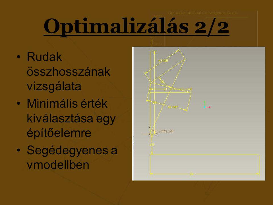 Optimalizálás 2/2 Rudak összhosszának vizsgálata Minimális érték kiválasztása egy építőelemre Segédegyenes a vmodellben