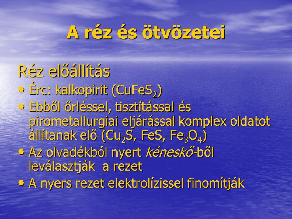 A réz és ötvözetei Réz előállítás Érc: kalkopirit (CuFeS 2 ) Érc: kalkopirit (CuFeS 2 ) Ebből őrléssel, tisztítással és pirometallurgiai eljárással ko