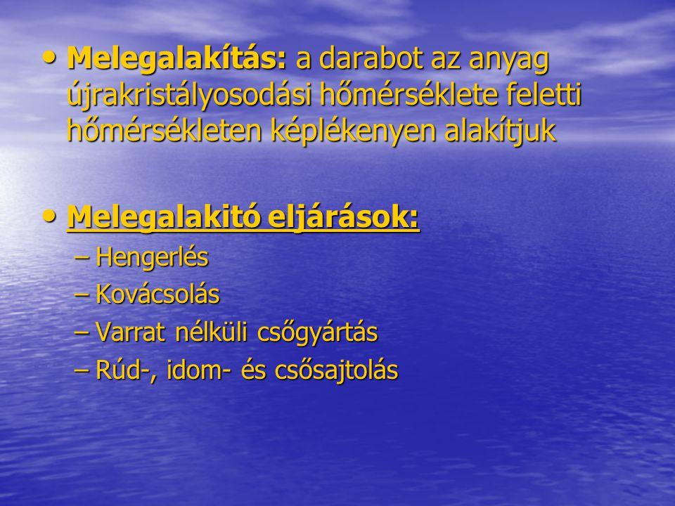 KOHÁSZATI MELEGALAKITÓ ELJÁRÁSOK