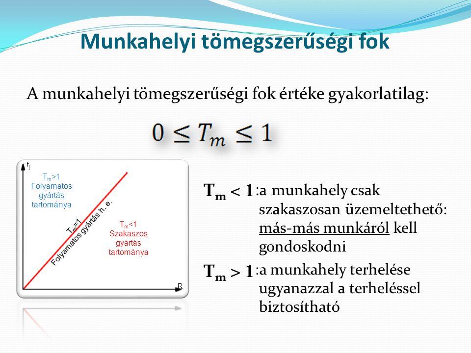 A munkahelyi tömegszerűségi fok értéke gyakorlatilag: Munkahelyi tömegszerűségi fok T m <1 Szakaszos gyártás tartománya T m >1 Folyamatos gyártás tartománya R tjtj : a munkahely csak szakaszosan üzemeltethető: más-más munkáról kell gondoskodni : a munkahely terhelése ugyanazzal a terheléssel biztosítható T m < 1 T m > 1
