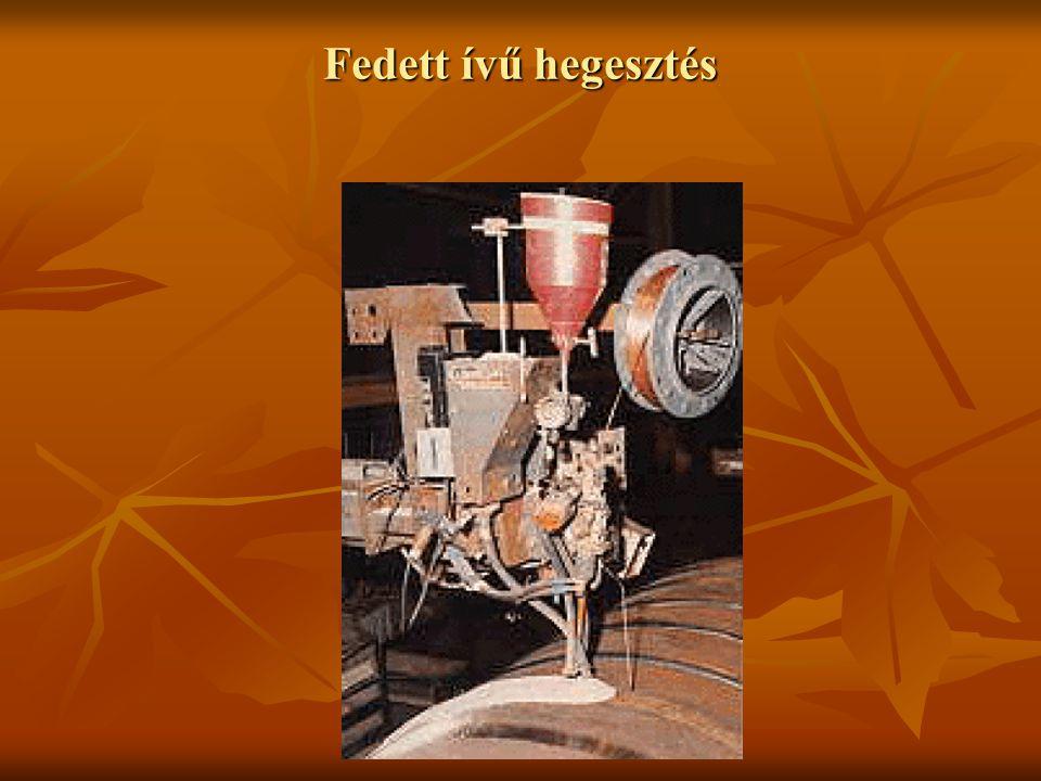 Fedett ívű hegesztés Hegesztőanyagok Elektróda Elektróda Huzal: Ø 2…12 mm, gyengén ötvözött acél Huzal: Ø 2…12 mm, gyengén ötvözött acél Szalag: 15…180 mm széles, felrakó hegesztéshez Szalag: 15…180 mm széles, felrakó hegesztéshez Fedőpor Fedőpor Különféle fémoxidok keveréke Különféle fémoxidok keveréke Fő alkotók: Al 2 O 3, CaO, MgO, SiO 2, … Fő alkotók: Al 2 O 3, CaO, MgO, SiO 2, … Hegfürdő támaszok Hegfürdő támaszok Az olvadék kifolyását akadályozzák meg, rézlemez vagy fedőpor párna használatos Az olvadék kifolyását akadályozzák meg, rézlemez vagy fedőpor párna használatos